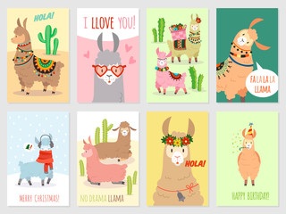 Llama cards. Baby llamas cute alpaca and cacti wild lama. Peru camel, girl party invitation vector set