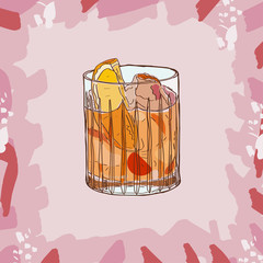Printed roller blinds Birds in cages Old fashioned cocktail illustration. Alcoholic bar drink hand drawn vector. Pop art