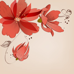 Fototapete - Floral corner decoration