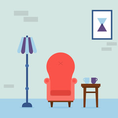 Interior of the living room. Vintage cozy red armchair, abstract picture, lamp and chair with cups in room. Interior elements. Vector illustration.