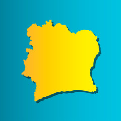 Political map African state - Cote D'ivoire (Ivory Coast).  Colorful vector isolated illustration icon. Yellow (orange) silhouette with shadow. Blue background