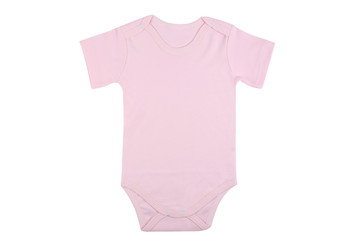 Short sleeve pink baby onesie isolated on white background