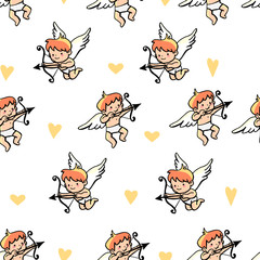 Seamless background with angels, cupids and hearts. Doodle