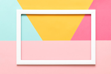 Abstract geometrical pastel blue, yellow and pink paper flat lay background. Minimalism, geometry...