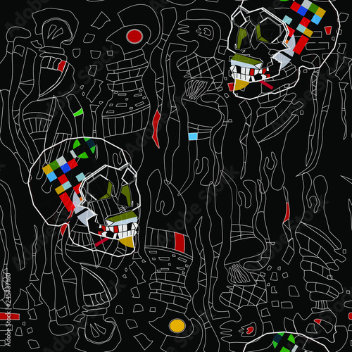 Seamless pattern with colorful abstract art objects, womam
