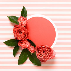 Happy Mother's Day, Women's Day, Valentine's Day or Birthday Living Coral Pantone Color Background. Coral flat lay greeting card with beautiful roses.