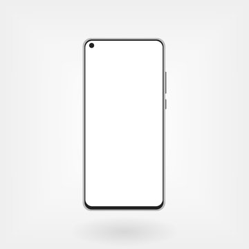 Smartphone mockup with hole in display. Modern front camera design