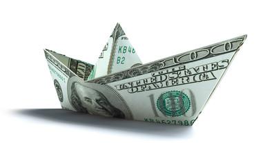 Dollar-Papierschiff auf Weiß