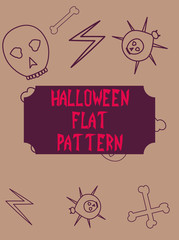 Halloween festive pattern. Endless background with pumpkins, skulls, bats, spiders, ghosts, bones, candies, spider web