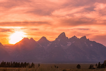 Scenic Sunset in the Tetons