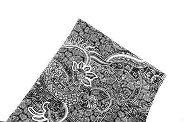 batik fabric on black and white