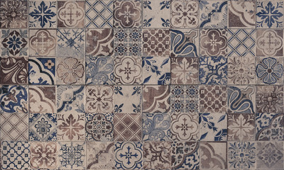 Old wall ceramic tiles patterns handcraft from thailand parks public
