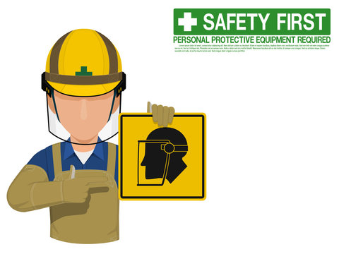 Industrial worker is presenting face shield sign