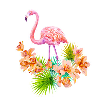 Tropical summer arrangements with flamingos, palm leaves and exotic orchids flowers. Watercolor illustration.