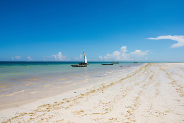 Sailboat at the diani beach in Kenya. Beautiful view on ocean