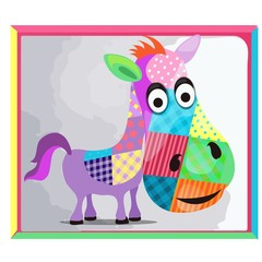 Childrens picture with a picture of a donkey made of colorful patches. Vector cartoon close-up illustration.
