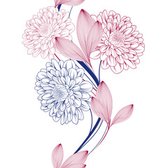 Seamless abstract pattern with chrysanthemum flowers.