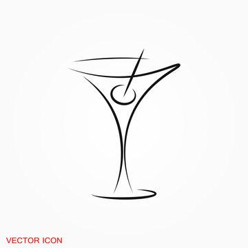 Martini icon logo, illustration, vector sign symbol for design