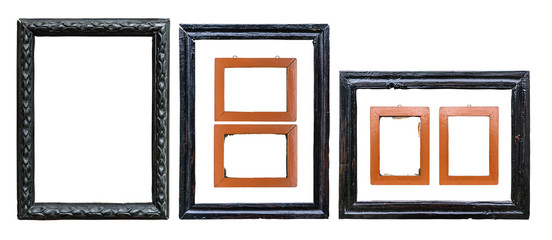 Set of old wooden frames isolated on white background, clipping path