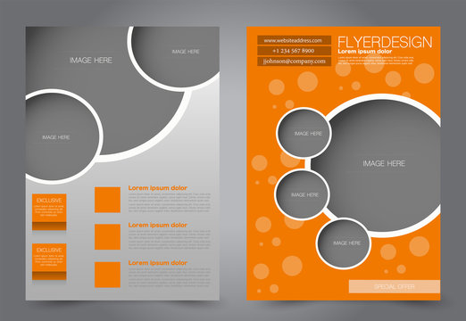 Abstract flyer template. Business brochure design. Orange color. Vector illustration.