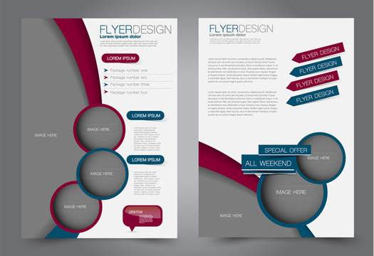 Flyer template. Design for a business, education, advertisement brochure, poster or pamphlet. Vector illustration. Red and blue color.