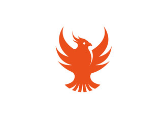 Bird red eagle open wings flying logo