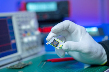 CCD chip in electronics lab