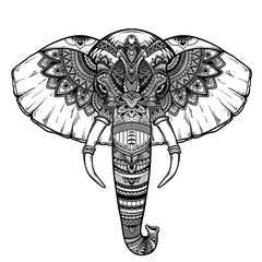 Ornate inked decorative elephant portrait . tribal spiritual animal. Tattoo. Hand drawn vector illustration