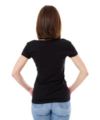 woman in stylish t-shirt back view isolated on white background,tshirt blank