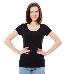 t-shirt design concept - smiling woman in blank black t-shirt isolated