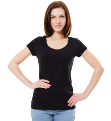 Young beautiful brunette female with blank black shirt. Ready for design or artwork