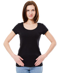 woman black shirt front view isolated on white, copy space,empty tshirt