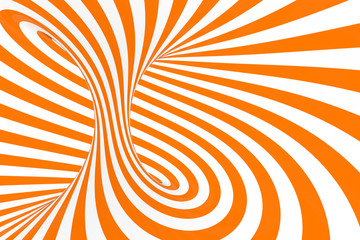 Torus 3D optical illusion raster illustration. Hypnotic white and orange tube image. Contrast twisting loops, stripes ornament.