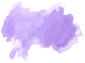 Lilac pastel watercolor hand-drawn isolated wash stain on white background for text, design. Abstract texture made by brush for wallpaper, label.