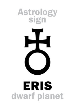 Astrology Alphabet: ERIS, most massive and second-largest superdistant dwarf planet. Hieroglyphics character sign (astrological symbol, used in Poland).