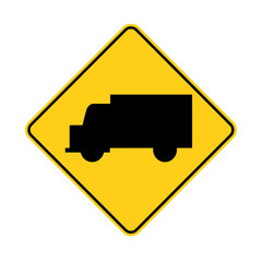 USA traffic road sign.truck ahead or crossing. vector illustration