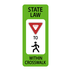 USA traffic road sign.yield to pedestrians in crosswalk . vector illustration