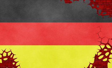 Illustration of a German flag, imitation of a painting on the cracked wall