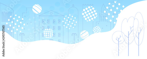 Winter city  Modern outline houses, fence, trees  Fantasy