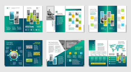 Brochure creative design. Multipurpose template, include cover, back and inside pages. Trendy minimalist flat geometric design. Vertical a4 format. - fototapety na wymiar