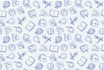Seamless background on the school theme in the style of sketches on a notebook sheet