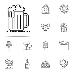 mug of beer dusk style icon. Birthday icons universal set for web and mobile