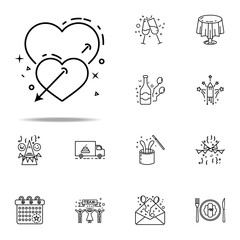 hearts of love dusk style icon. Birthday icons universal set for web and mobile