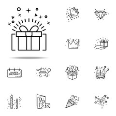holiday gift dusk style icon. Birthday icons universal set for web and mobile