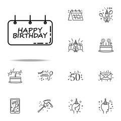 birthday signboard dusk style icon. Birthday icons universal set for web and mobile