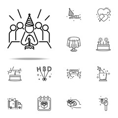 birthday with cake dusk style icon. Birthday icons universal set for web and mobile