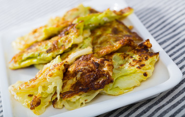 Cabbage leaves in batter is tasty vegan dish