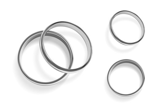 Realistic silver wedding rings. Isolated vector illustration.