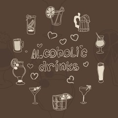 greeting card alcohol drinks on a brown background