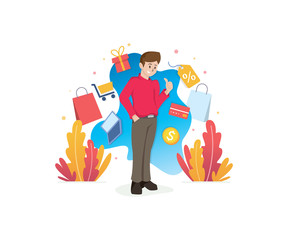 Shopping concept with characters. Smiling man with shopping concept illustration. Online shopping illustration, Online payment, sale - vector